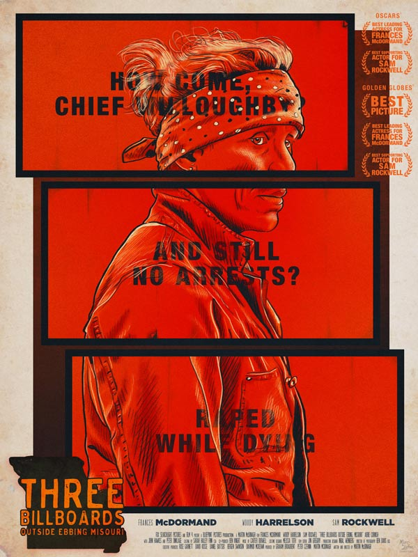 Three Billboards — affiche alternative, illustration