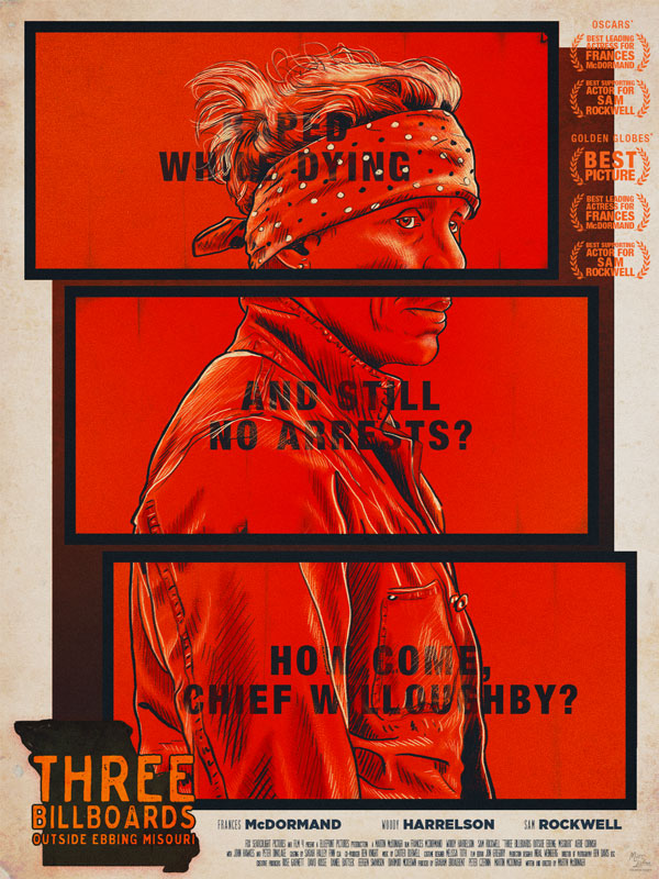 affiche alternative pour le film Three Billboards - cinema, affiche alternative, poster